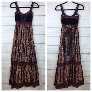 Vintage Gunne Sax Floral Maxi Prairie Dress
